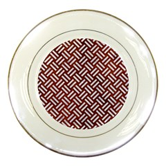 Woven2 White Marble & Reddish Brown Leather Porcelain Plates by trendistuff