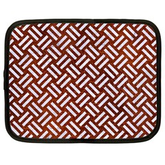 Woven2 White Marble & Reddish Brown Leather Netbook Case (xl)  by trendistuff