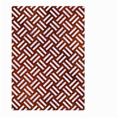 Woven2 White Marble & Reddish Brown Leather Large Garden Flag (two Sides) by trendistuff