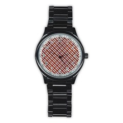 Woven2 White Marble & Reddish Brown Leather Stainless Steel Round Watch by trendistuff