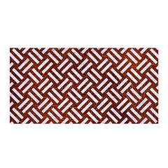 Woven2 White Marble & Reddish Brown Leather Satin Wrap by trendistuff