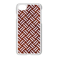 Woven2 White Marble & Reddish Brown Leather Apple Iphone 7 Seamless Case (white) by trendistuff