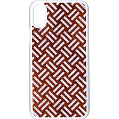 Woven2 White Marble & Reddish Brown Leather Apple Iphone X Seamless Case (white)
