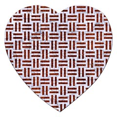 Woven1 White Marble & Reddish Brown Leather (r) Jigsaw Puzzle (heart) by trendistuff