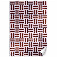 Woven1 White Marble & Reddish Brown Leather (r) Canvas 12  X 18   by trendistuff