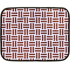 Woven1 White Marble & Reddish Brown Leather (r) Double Sided Fleece Blanket (mini)  by trendistuff