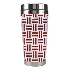 Woven1 White Marble & Reddish Brown Leather (r) Stainless Steel Travel Tumblers by trendistuff