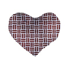 Woven1 White Marble & Reddish Brown Leather (r) Standard 16  Premium Flano Heart Shape Cushions by trendistuff