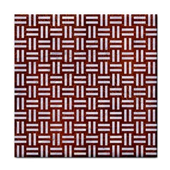 Woven1 White Marble & Reddish Brown Leather Tile Coasters by trendistuff