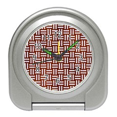 Woven1 White Marble & Reddish Brown Leather Travel Alarm Clocks by trendistuff