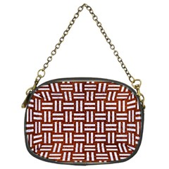 Woven1 White Marble & Reddish Brown Leather Chain Purses (two Sides)  by trendistuff