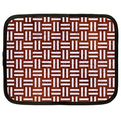 Woven1 White Marble & Reddish Brown Leather Netbook Case (xl)  by trendistuff