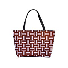 Woven1 White Marble & Reddish Brown Leather Shoulder Handbags by trendistuff