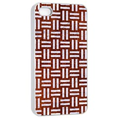 Woven1 White Marble & Reddish Brown Leather Apple Iphone 4/4s Seamless Case (white) by trendistuff