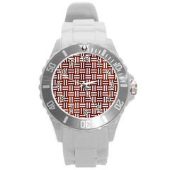 Woven1 White Marble & Reddish Brown Leather Round Plastic Sport Watch (l) by trendistuff