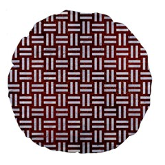 Woven1 White Marble & Reddish Brown Leather Large 18  Premium Flano Round Cushions by trendistuff