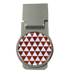 Triangle3 White Marble & Reddish Brown Leather Money Clips (round)  by trendistuff