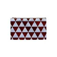 Triangle3 White Marble & Reddish Brown Leather Cosmetic Bag (small)  by trendistuff