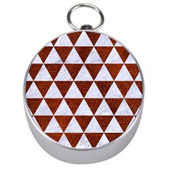Triangle3 White Marble & Reddish Brown Leather Silver Compasses by trendistuff