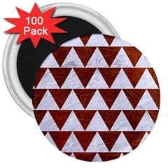 Triangle2 White Marble & Reddish Brown Leather 3  Magnets (100 Pack) by trendistuff