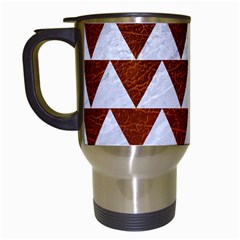 Triangle2 White Marble & Reddish Brown Leather Travel Mugs (white) by trendistuff