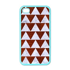 Triangle2 White Marble & Reddish Brown Leather Apple Iphone 4 Case (color)