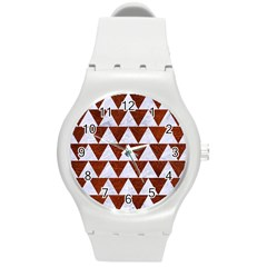 Triangle2 White Marble & Reddish Brown Leather Round Plastic Sport Watch (m) by trendistuff