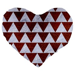 Triangle2 White Marble & Reddish Brown Leather Large 19  Premium Flano Heart Shape Cushions by trendistuff