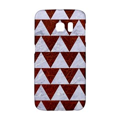 Triangle2 White Marble & Reddish Brown Leather Galaxy S6 Edge by trendistuff