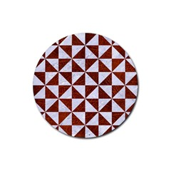 Triangle1 White Marble & Reddish Brown Leather Rubber Round Coaster (4 Pack)  by trendistuff