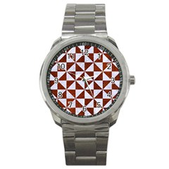 Triangle1 White Marble & Reddish Brown Leather Sport Metal Watch by trendistuff