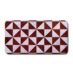Triangle1 White Marble & Reddish Brown Leather Medium Bar Mats