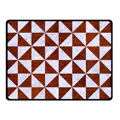 Triangle1 White Marble & Reddish Brown Leather Double Sided Fleece Blanket (small)
