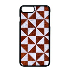 Triangle1 White Marble & Reddish Brown Leather Apple Iphone 8 Plus Seamless Case (black) by trendistuff