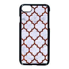 Tile1 White Marble & Reddish Brown Leather (r) Apple Iphone 7 Seamless Case (black) by trendistuff