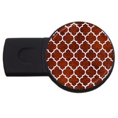 Tile1 White Marble & Reddish Brown Leather Usb Flash Drive Round (4 Gb) by trendistuff