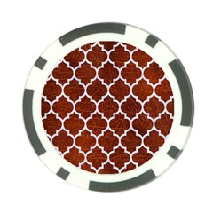 Tile1 White Marble & Reddish Brown Leather Poker Chip Card Guard (10 Pack) by trendistuff