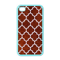 Tile1 White Marble & Reddish Brown Leather Apple Iphone 4 Case (color)