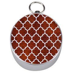 Tile1 White Marble & Reddish Brown Leather Silver Compasses by trendistuff