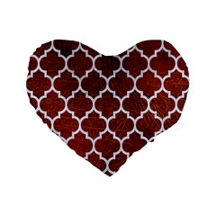 Tile1 White Marble & Reddish Brown Leather Standard 16  Premium Flano Heart Shape Cushions by trendistuff