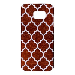 Tile1 White Marble & Reddish Brown Leather Samsung Galaxy S7 Edge Hardshell Case