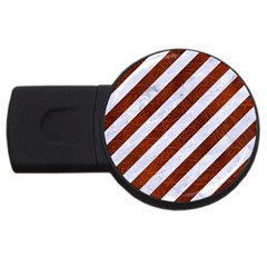 Stripes3 White Marble & Reddish Brown Leather (r) Usb Flash Drive Round (2 Gb) by trendistuff