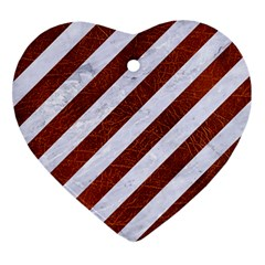 Stripes3 White Marble & Reddish Brown Leather (r) Heart Ornament (two Sides) by trendistuff