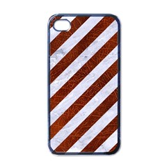 Stripes3 White Marble & Reddish Brown Leather (r) Apple Iphone 4 Case (black) by trendistuff