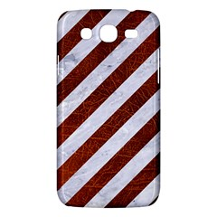 Stripes3 White Marble & Reddish Brown Leather (r) Samsung Galaxy Mega 5 8 I9152 Hardshell Case  by trendistuff