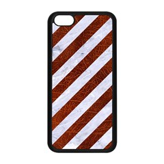 Stripes3 White Marble & Reddish Brown Leather (r) Apple Iphone 5c Seamless Case (black) by trendistuff