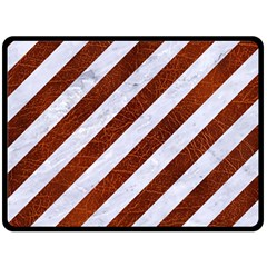 Stripes3 White Marble & Reddish Brown Leather (r) Double Sided Fleece Blanket (large)