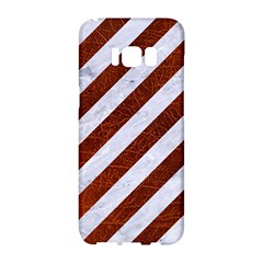 Stripes3 White Marble & Reddish Brown Leather (r) Samsung Galaxy S8 Hardshell Case