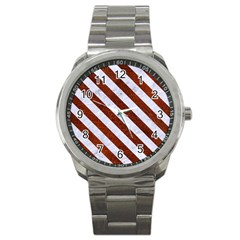 Stripes3 White Marble & Reddish Brown Leather Sport Metal Watch by trendistuff