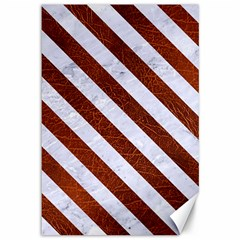 Stripes3 White Marble & Reddish Brown Leather Canvas 12  X 18   by trendistuff